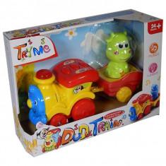 Jucarie trenulet muzical cu locomotiva si vagon Little Dudu