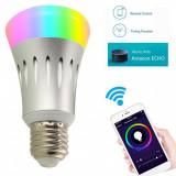 Bec inteligent cu LED, Yuni, &W, RGB, Alexa, Dimabil, control Smartphone E27, Becuri LED, Naturata ( Peste 5000 K)