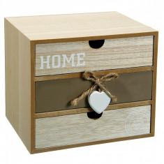 Cutie pentru depozitare din lemn, model cu 2 sertare, 20x15x18 cm, crem
