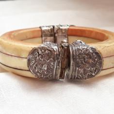 BRATARA argint si FILDES masiva TRIBALA INDIA RAJASTHAN impozanta VECHE de efect