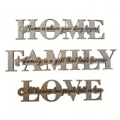"Set decoratiuni, 3 piese ""Home, Family, Love"", mesaj gravat, lemn"