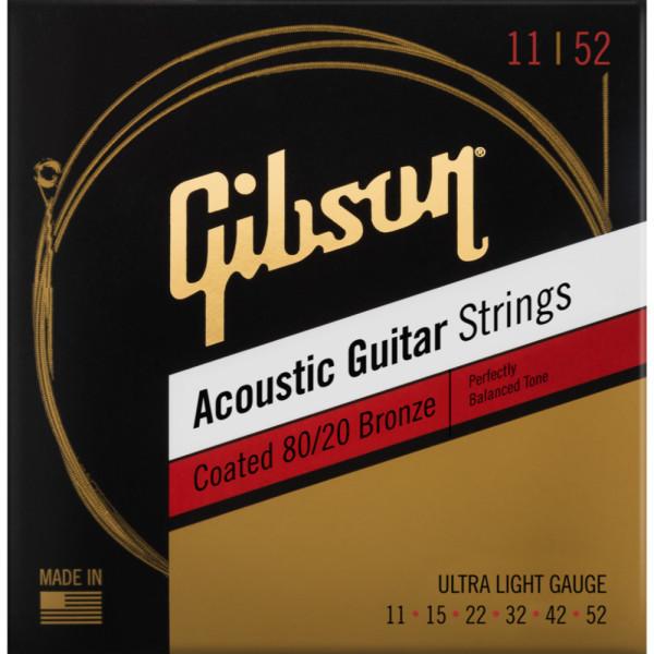 Corzi acustica Gibson SAG-CBRW11 11-52 Coated 80/20 Bronze