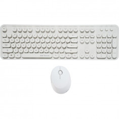 Kit tastatura + mouse Serioux Retro light 9910WH, wireless 2.4GHz, US layout, alb