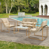 Set mobilier gradina Dallas, masa 40 x 91 x 50 cm, banca 65 x 125 x 75 cm, fotoliu 65 x 64 x 75cm, otel/textil, bej