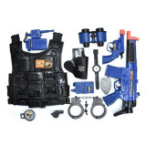 Set de jucarie pentru copii, model de politie cu arme, vesta si accesorii, 71x5x37.5 cm