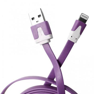 Cablu date si incarcare plat, mufa Lightning la USB 2.0, 3 metri, mov pentru Apple iPhone 5, 5S, 5C, SE, 6, 6S, 6plus, 6Splus, 7, 7plus, iPad, iPod foto