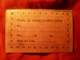 Cartela de masa pt. cafea la Restaurant N.P. Ionescu