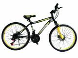 """Bicicleta MTB Vision Tiger 2D Suspensie Fata Culoare Negru/Galben Roata 24"""" OtelPB Cod:202404010309"""