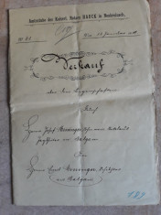 ACTE NOTARIALE VECHI 1910 -TIMBRU FISCAL -FILIGRAN -CALIGRAFIE - NOTAR IMPERIAL foto