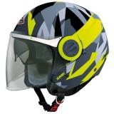 Cumpara ieftin Casca moto scuter SMK SWING ACE MA264 culoarea gri mat galben, marimea L unisex
