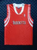 Tricou NBA Rockets. Marime M: 54 cm bust, 75 cm lungime, 42.5 cm intre umeri