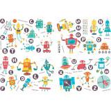 Cumpara ieftin Sticker decorativ perete Giftify Robo Letter cu roboti si litere pentru camera copiilor