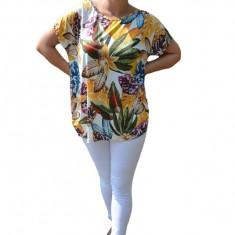 Bluza Lucia cu imprimeu exotic leaf pe fond alb, 42, 44, 46, 48, 50, 52