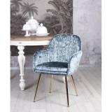 Scaun din lemn masiv negru cu tapiterie din catifea bleu SNA513, Scaune, Baroc