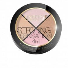 Paleta iluminatoare pentru fata, Eveline Cosmetics, Strobing Sensation 4 in 1, 12g