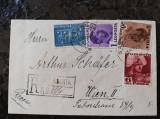 Plic circulat 1938, francatura multipla Carol II, recomandat,Sadagura-Wiena