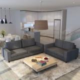 Set de canapele 5 persoane, 2 buc, Material textil Gri închis