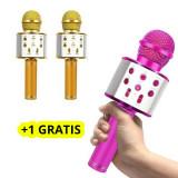 Cumpara ieftin Microfon Karaoke Copii, Bluetooth, Functie Ecou, Difuzor Sunet, Gold + 1 GRATIS