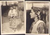 C2046 Lot 2 poze tanara femeie in port popular romanesc perioada interbelica