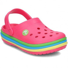 Slapi Copii Crocs Rainbow Band Clog 205205PARADISEPINK