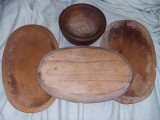 3 farfurii lemn ovale vintage + bol vechi lemn ,T.GRATUIT