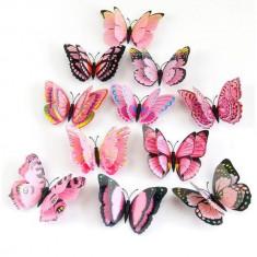 Fluturi 3D magnet, dubli, decoratiuni casa, evenimente, 12 bucati, roz, A12