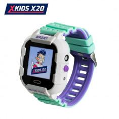 Ceas Smartwatch Pentru Copii Xkids X20 cu Functie Telefon, Localizare GPS, Apel monitorizare, Camera, Pedometru, SOS, IP54, Incarcare magnetica, Alb -