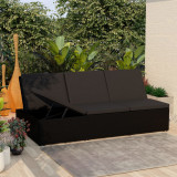 VidaXL Șezlong tip pat rabatabil cu pernă, negru, poliratan
