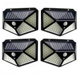 Set 4 Lampi ULTRA 100 LED Solare cu senzor de miscare si lumina 3 moduri ILUMINARE