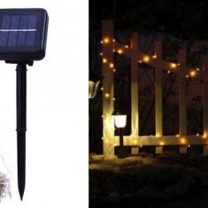 Instalatie solara de exterior 100 LED, 10m, galbena, 8 jocuri, senzor lumina