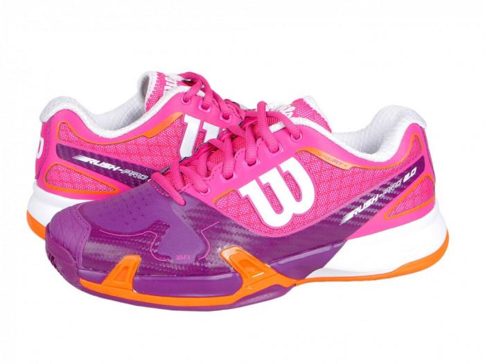 Adidasi tenis dama Wilson Rush Pro 2.0 Clay Court W pink-purple WRS321170