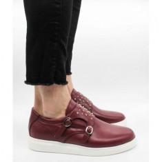 Pantofi din piele naturală 44 Bordeaux
