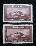 Posta Aeriana C-Raiu, 1 Leu brun( 2 marci postale) cu  eroare, neuzate ,1928