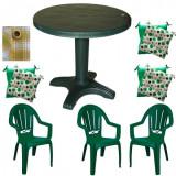 Set mobila gradina masa 80 cm cu 3 scaune Milas culoare verde,3 perne scaun,Fata de masa rotunda 150cm B001110 Raki