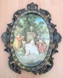Tablou matase - decorativ / de colectie - rama alama - Italia