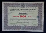 Actie Banca Andreiana 1942 - Sibiu - Rasinari - titlu - actiune - actiuni