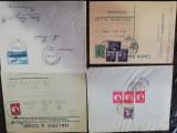 4 plicuri filatelice Romania, circulate per.interbelica( timbre Mihai si Carol)