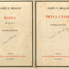 Partituri Muzicale Sabin V. Drăgoi semnate de autor Eminescu Doina Imnul Unirii