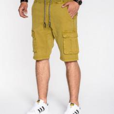Pantaloni scurti pentru barbati bej cu siret buzunare laterale casual P527
