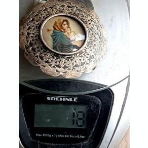 Icoana argint filigranat -pictura semnata MARIA SI ISUS- medalion gigant