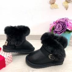 Cizme de iarna negre imblanite pantofi fetite bebe piele 21 22 23 24 GGM, Fete, Din imagine
