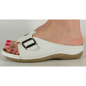 Saboti/Papuci medicinali albi cu platforma si gel pe talpa 154050
