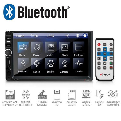 MP3 Player Universal 2DIN Auto cu Radio FM, Touchscreen Display 7 inch, Telecomanda, Bluetooth, USB, MicroSD, AUX, Karaoke, Putere 4x45W, Vordon foto