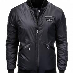 Jacheta pentru barbati, negru, cu fermoar, stil militar, casual, slim fit - C289