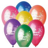 Baloane colorate inscriptionate La multi ani, 30 cm, latex, set 100 bucati