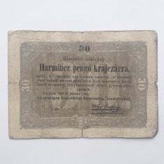 30 Pengo Krajczarra 1849 Ungaria bancnota