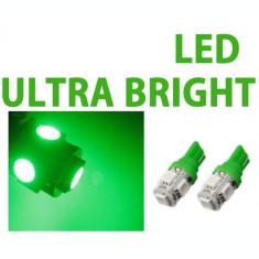 Led bec T10 W5W pozitie 5 smd de culoare verde