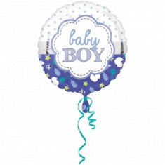 Balon botez folie metalizata 43cm Baby Boy Scallop