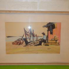 PESCAR  REPARAND PLASELE , superba lucrare in TEHNICA MIXTA , semnata , tablou