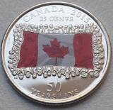 25 cents 2015 Canada, Canadian Flag, unc, 50th Anniversary, color, km#1851.1, America de Nord
